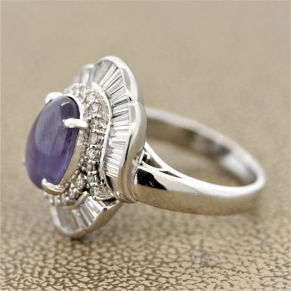 Purple Star Sapphire Diamond Platinum Ring