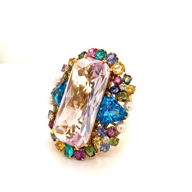 Large Kunzite Diamond Paraiba Sapphire Topaz Gold Cocktail Ring