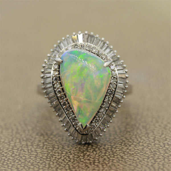 Australian Crystal Opal Diamond Platinum Ring