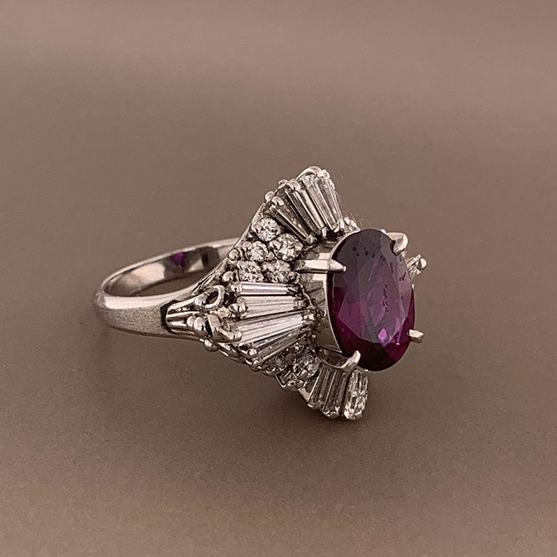 Pink-Purple Sapphire Diamond Platinum Ring