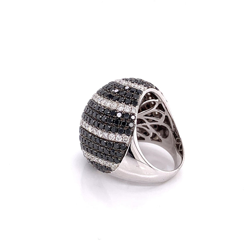 Black and White Diamond Gold Dome Ring