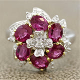 Ruby Diamond Flower Gold Ring