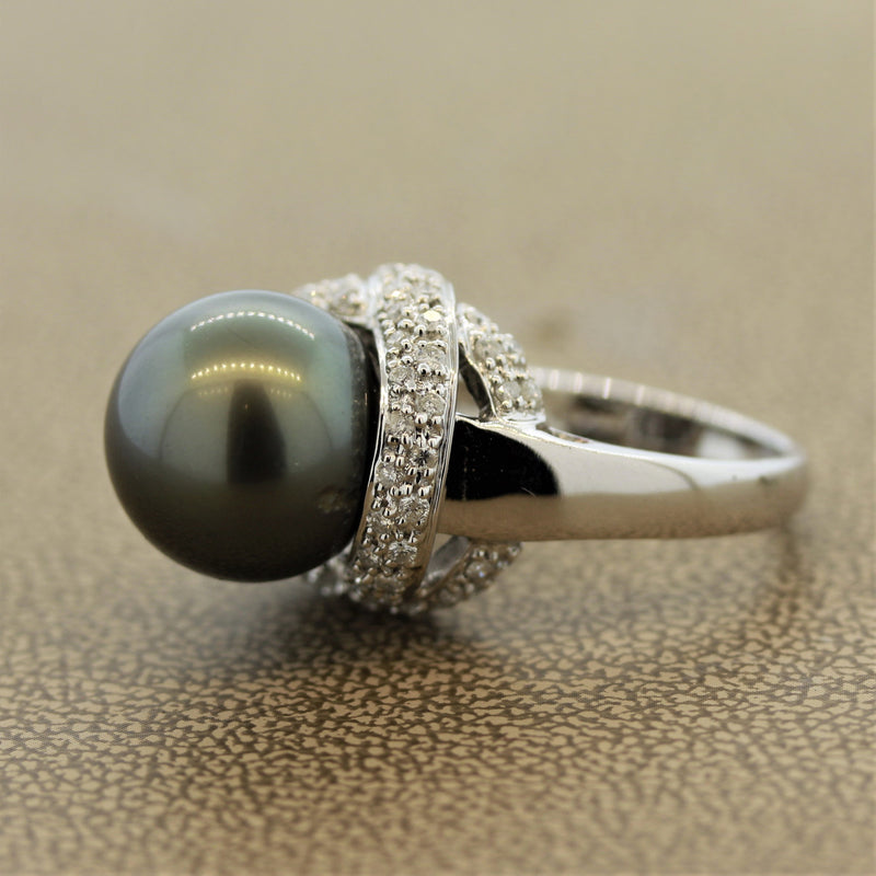 Tahitian Pearl Diamond Gold Ring