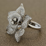 Diamond Pave Gold Flower Cocktail Ring