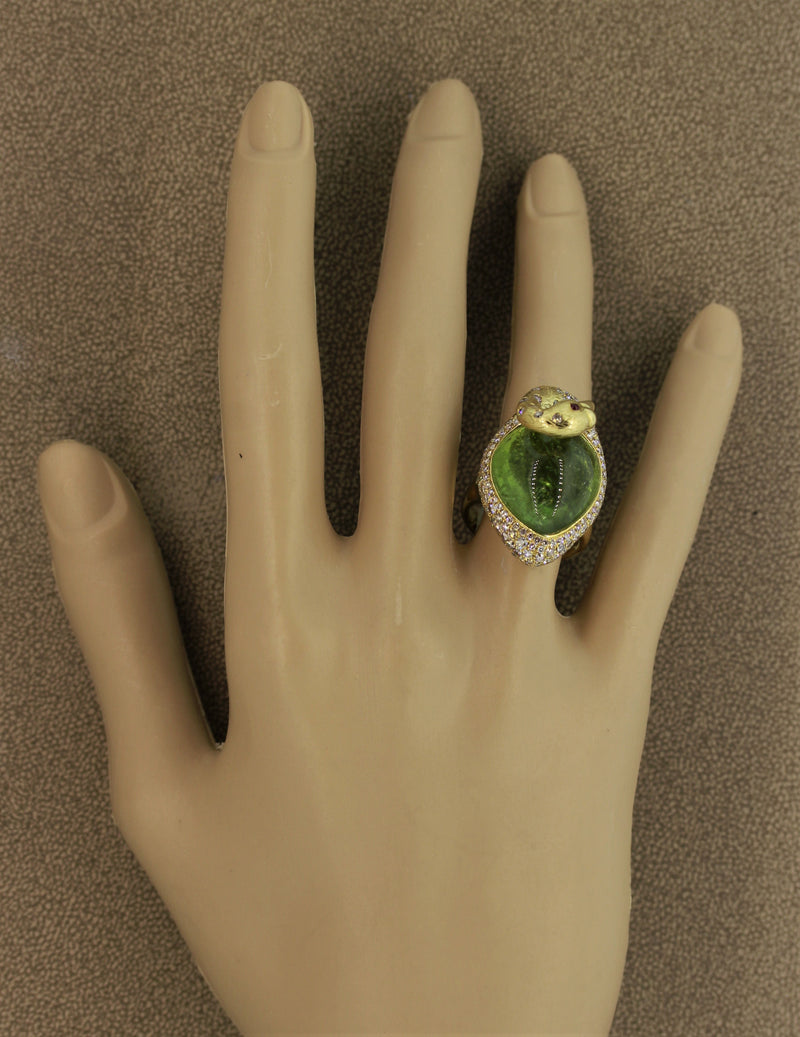 Green Tourmaline Diamond Gold Swan Ring