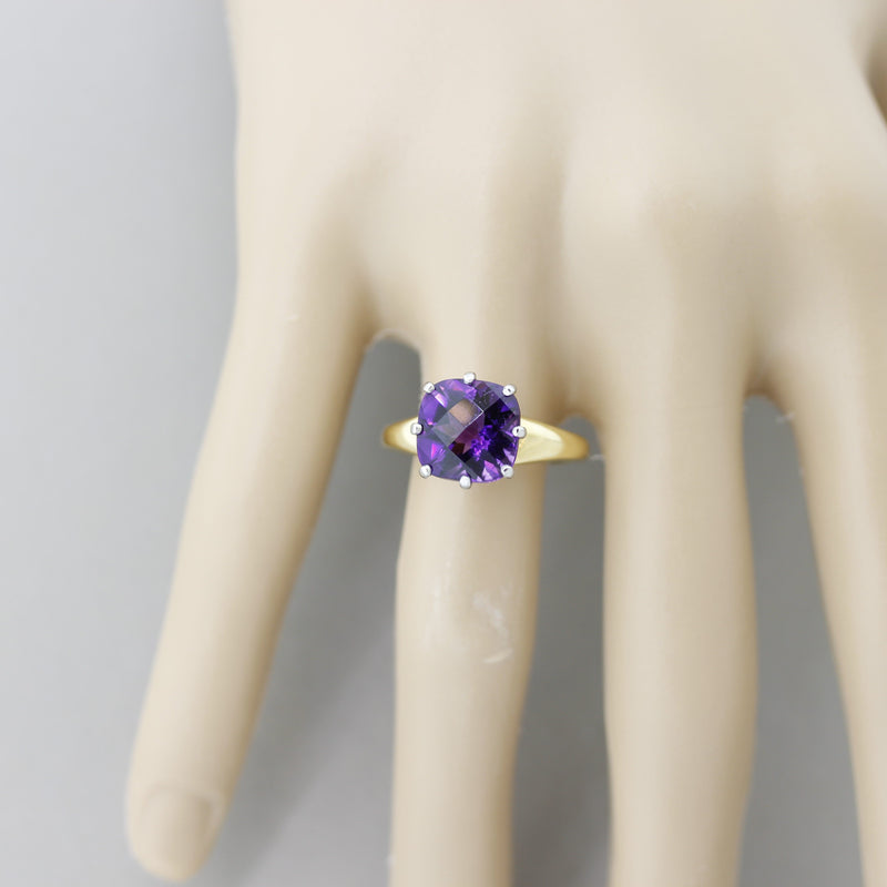 Amethyst Diamond Gold & Platinum Ring