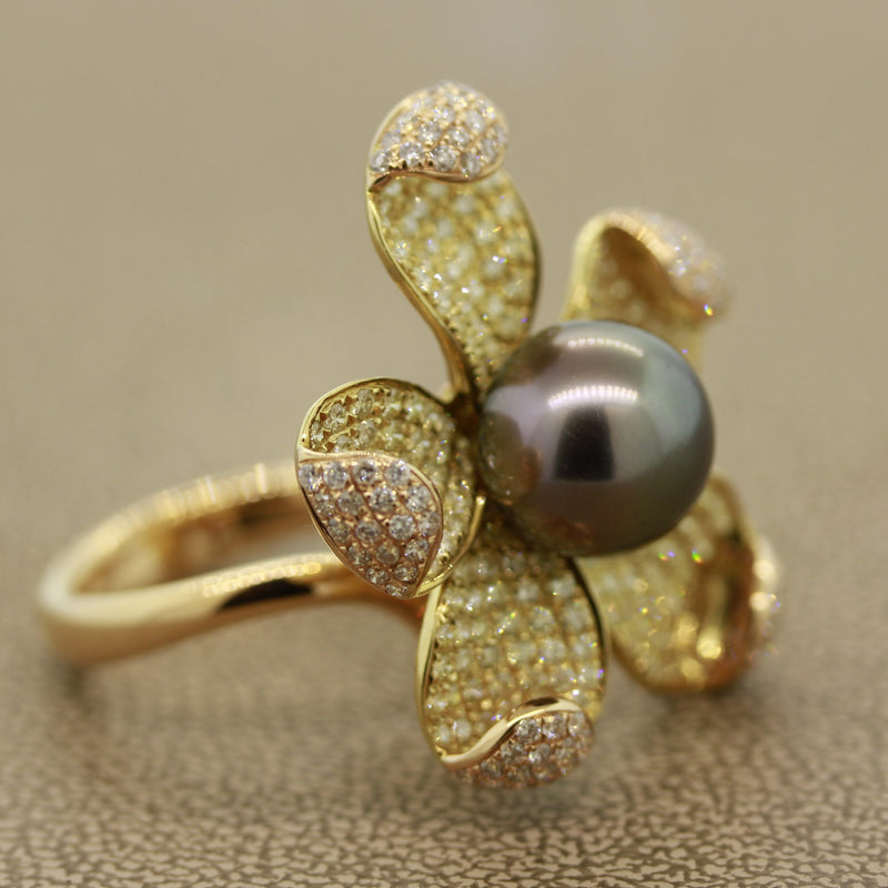 Tahitian Pearl Diamond Gold Flower Ring