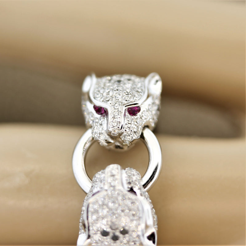 "Diamond Ruby ""Twin Panther"" Gold Ring"