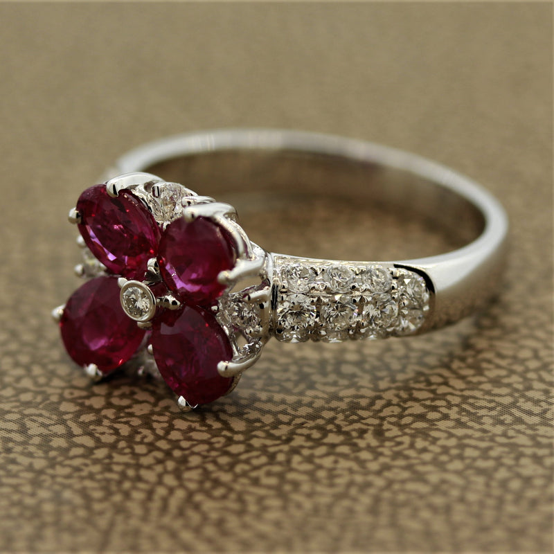 Ruby Flower Diamond Gold Ring