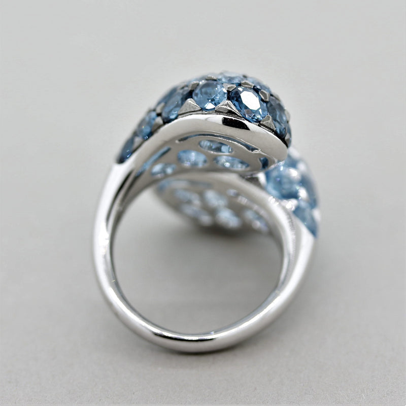 "London & Swiss Blue Topaz Gold ""Twin"" Ring"