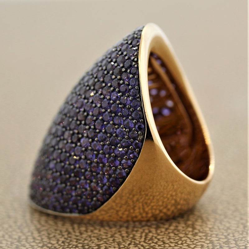 Purple Sapphire Wide Gold Dome Ring