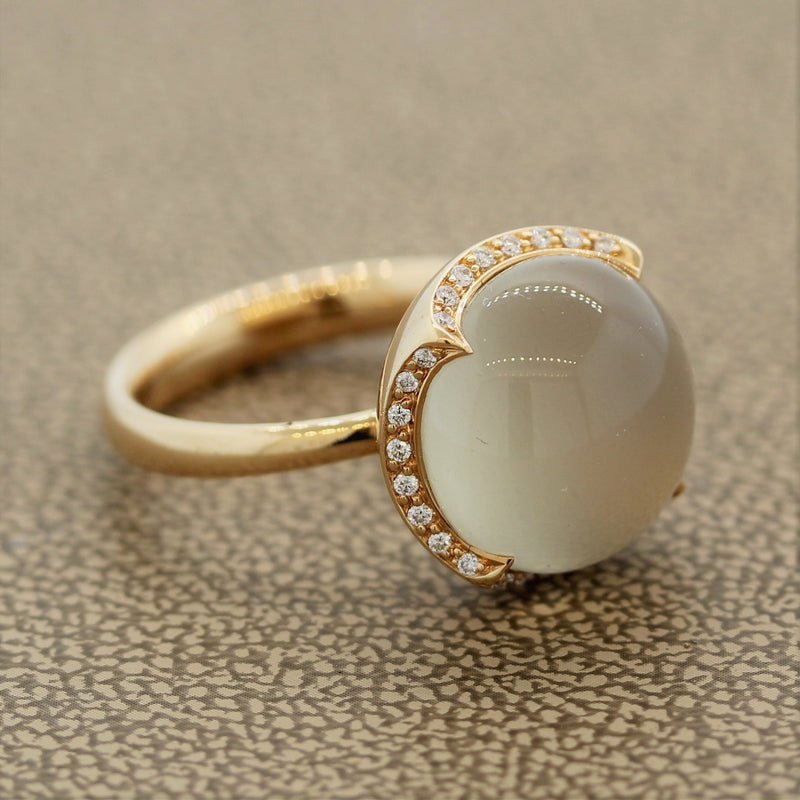 Modern Moonstone Diamond Gold Solitaire Ring