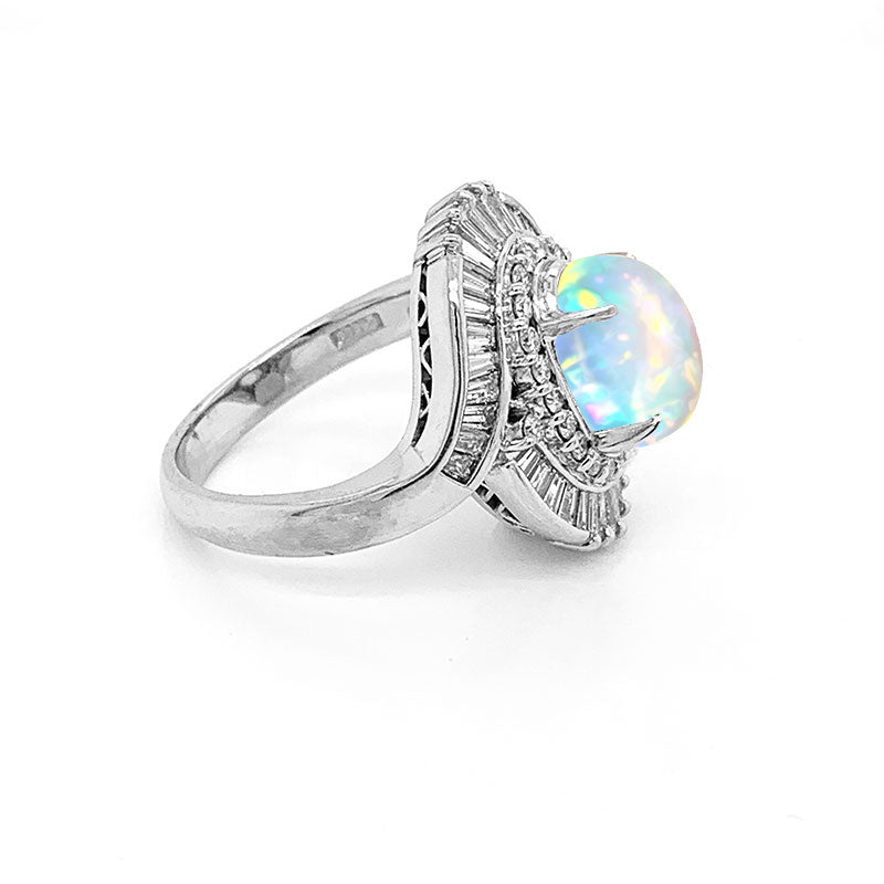 Crystal Opal Diamond Platinum Spiral Ring