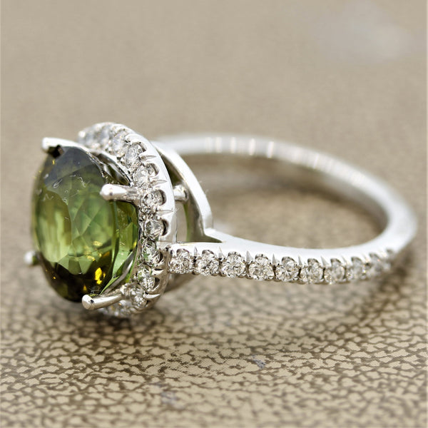 Green Tourmaline Diamond Platinum Ring
