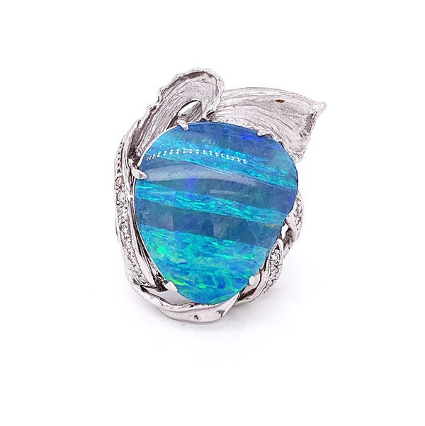 Large Boulder Opal Diamond Platinum Cocktail Ring