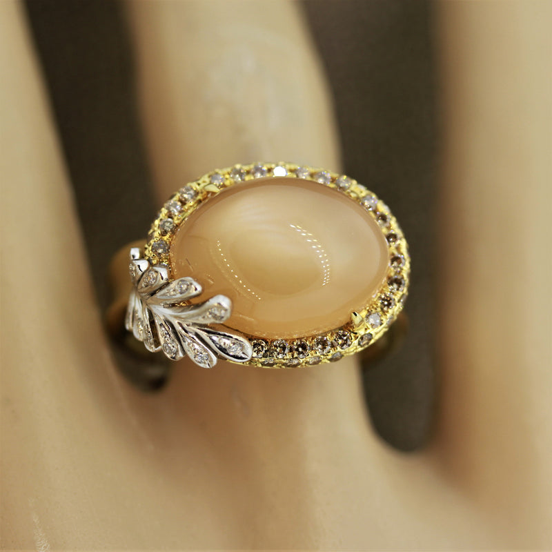 Cat's Eye Moonstone Diamond Gold Ring