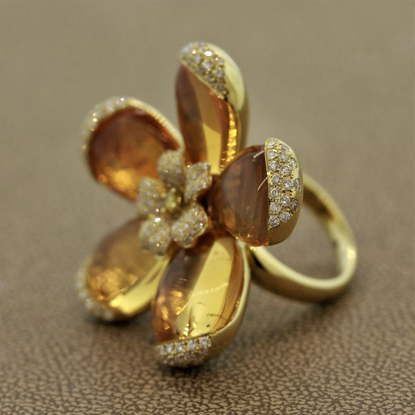 Fire Opal Diamond Gold Flower Ring