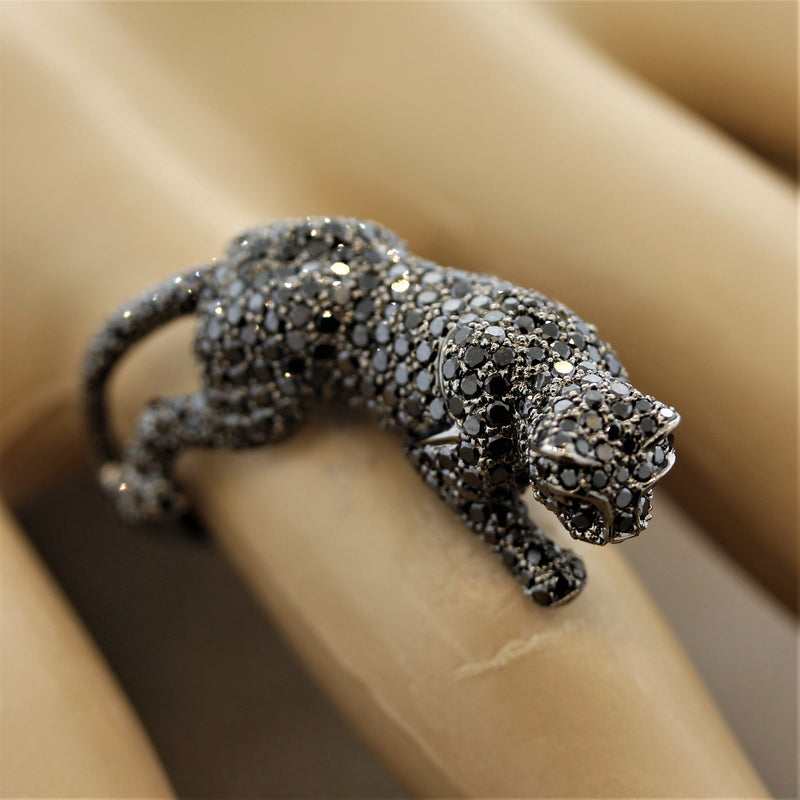 Black Diamond Black Panther Gold Ring