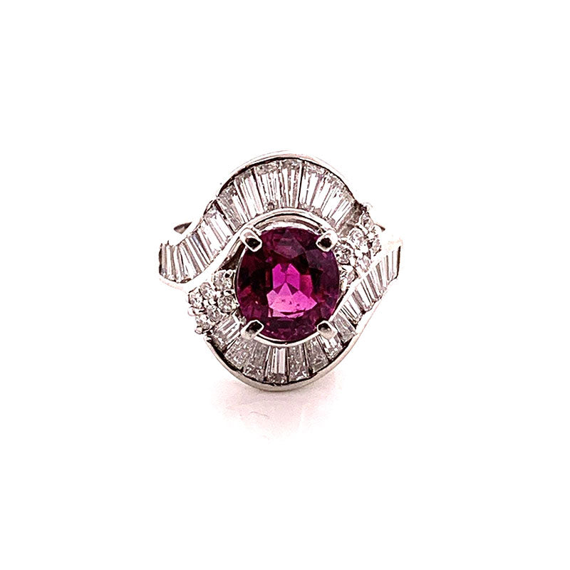 Gem Ruby Diamond Platinum Ring