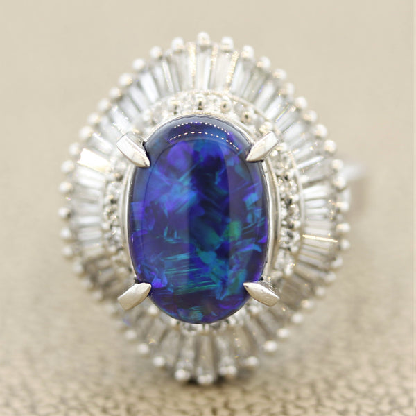 Blue-Green Australian Black-Opal Diamond Platinum Ring