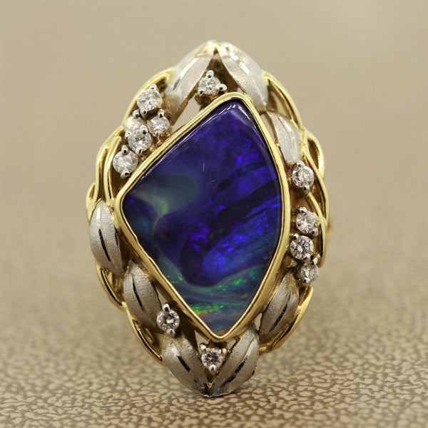 Boulder Opal Diamond Platinum Gold Ring