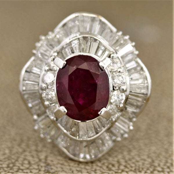 Ruby Diamond Platinum Cocktail Ring