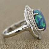 Blue-Green Australian Opal Diamond Platinum Ring
