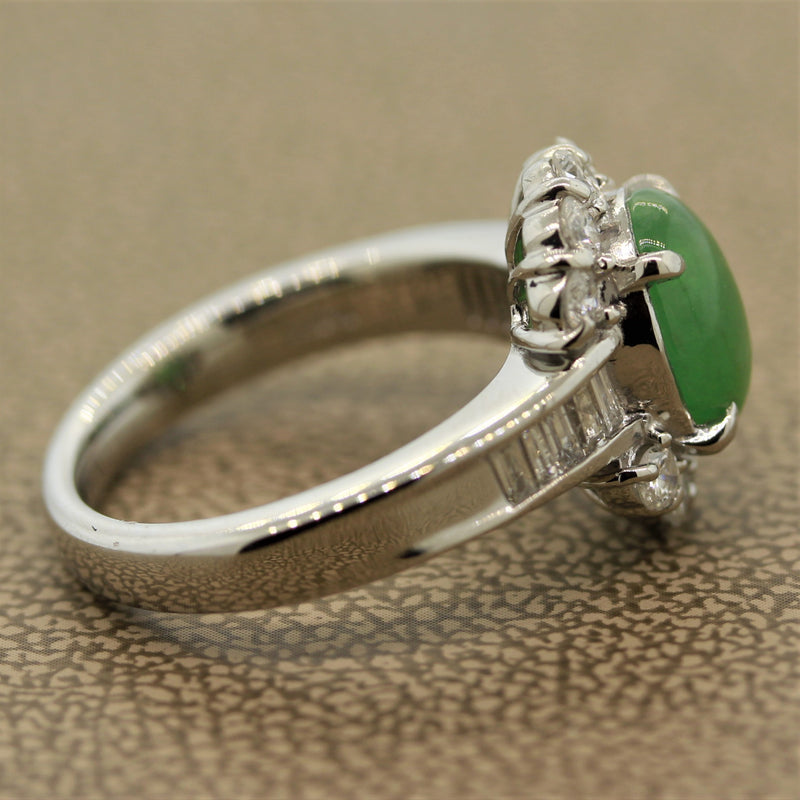 Everyday Jadeite Jade Diamond Platinum Ring