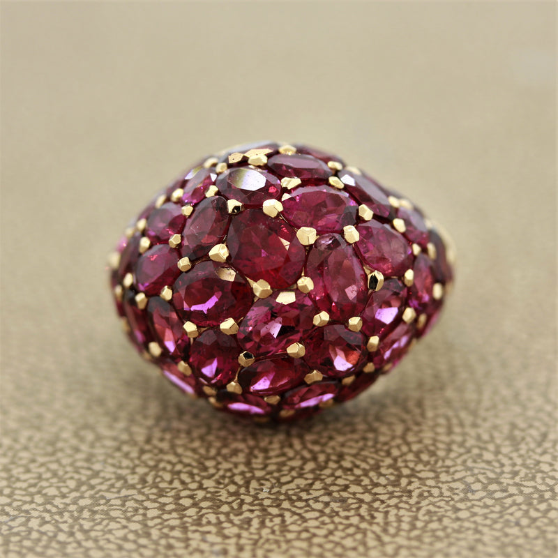 Rubelite Tourmaline Gold Dome Ring