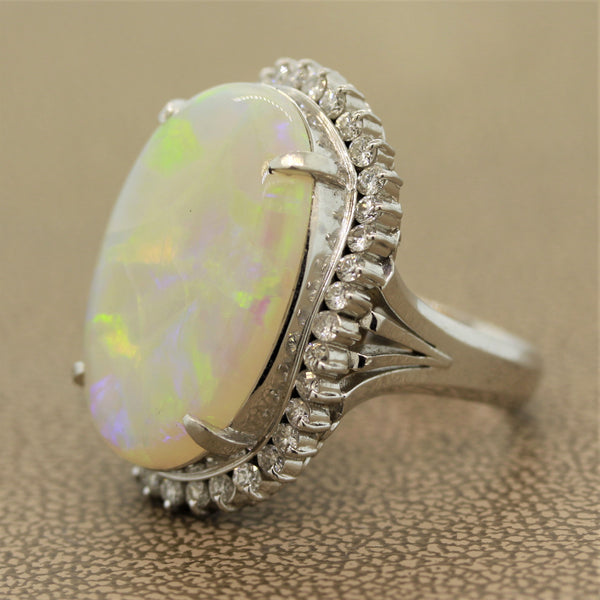 Australian Opal Diamond Platinum Cocktail Ring