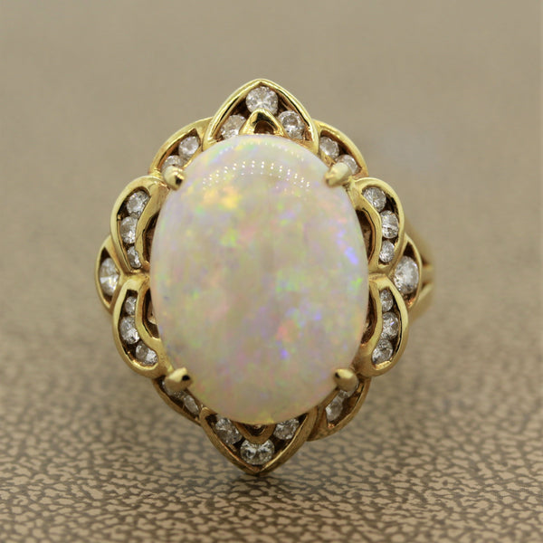 Australian White Opal Diamond Gold Ring