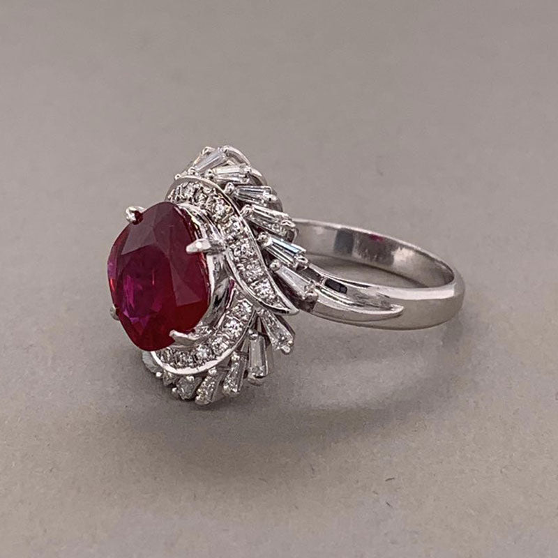 Gem Ruby Diamond Platinum Ring, AGL Certified