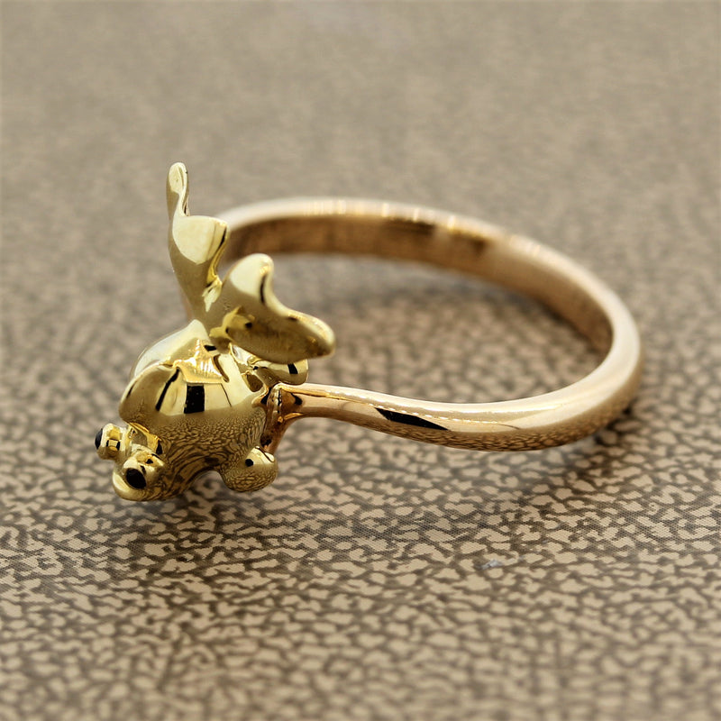Ruby Eyes Fish Gold Ring