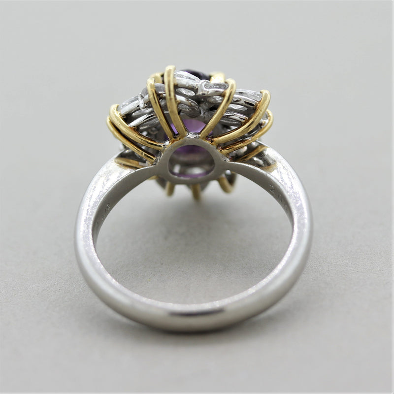 Purple Sapphire Diamond Gold & Platinum Ring