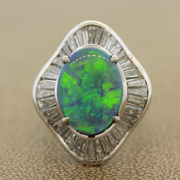 Gem Australian Opal Diamond Platinum Cocktail Ring