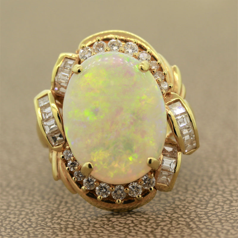 Australian Opal Diamond Gold Ring