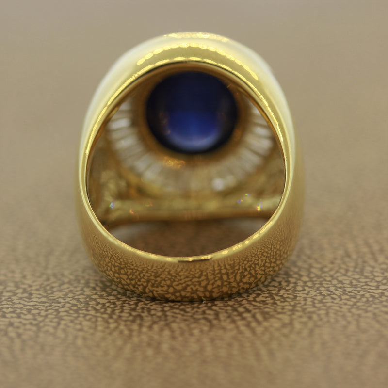 Cabochon Sapphire Diamond Gold Men's Ring
