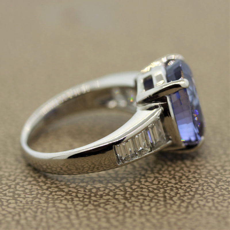 9.35ct Sapphire Diamond Platinum Ring, GIA Certified No-Heat