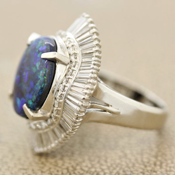 Australian Black Opal Diamond Platinum Cocktail Ring