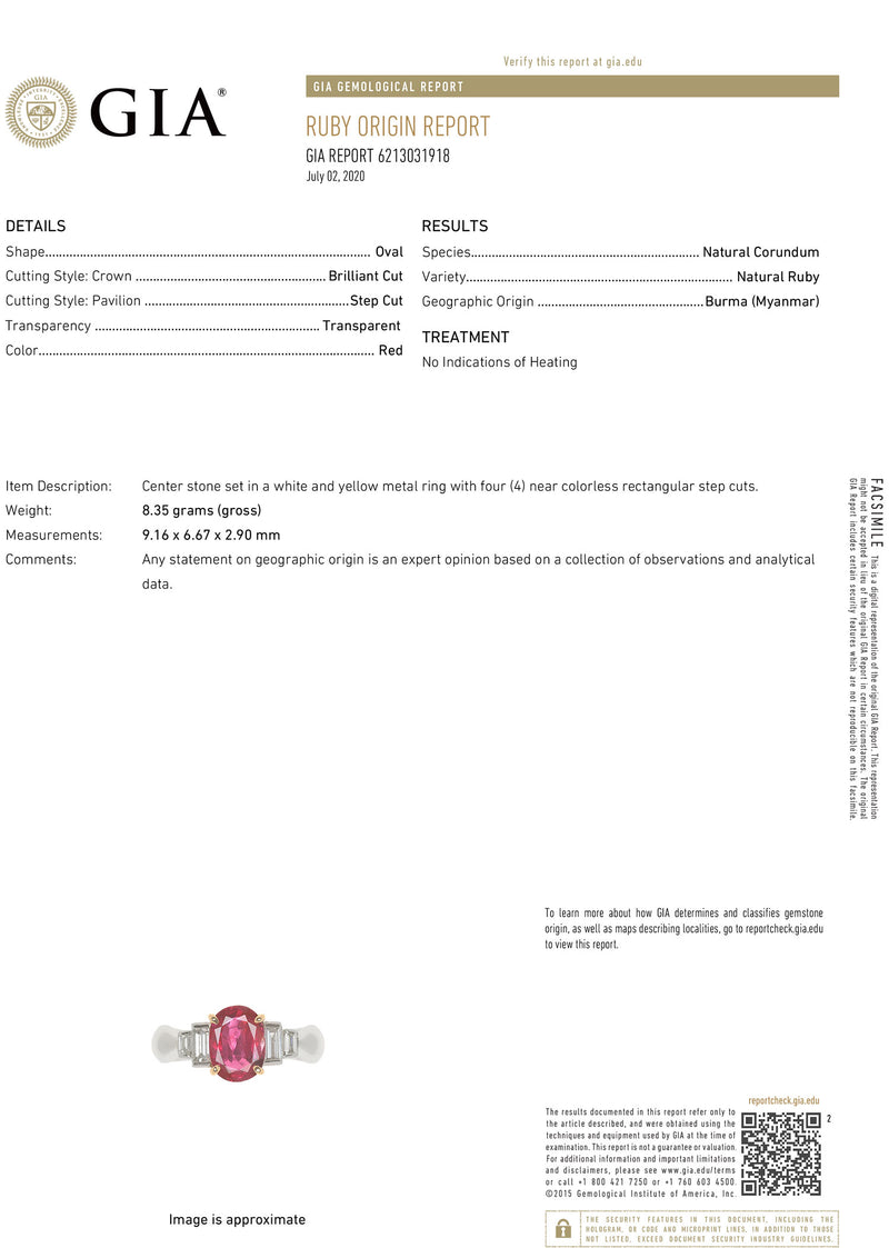 Burmese Ruby Diamond Platinum Ring, GIA Certified Unheated