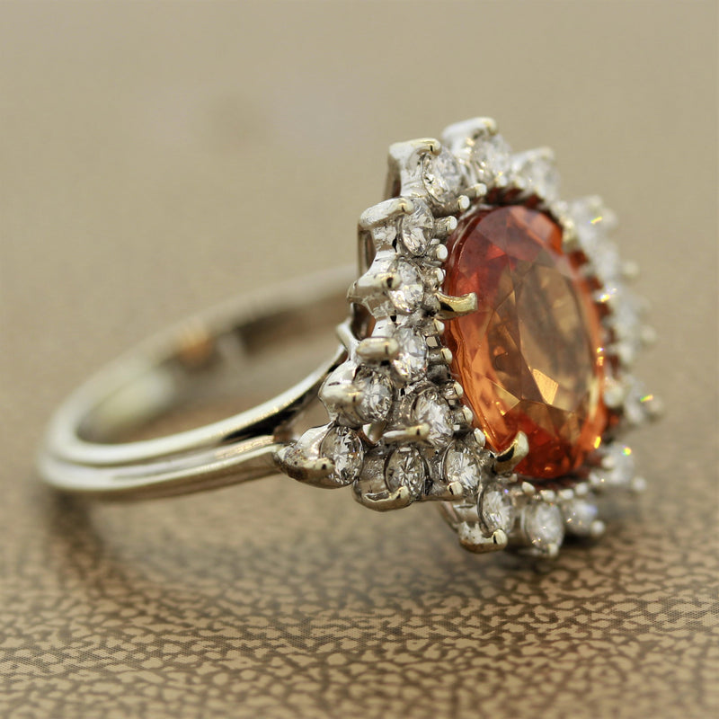 Mandarin Garnet Diamond Gold Ring