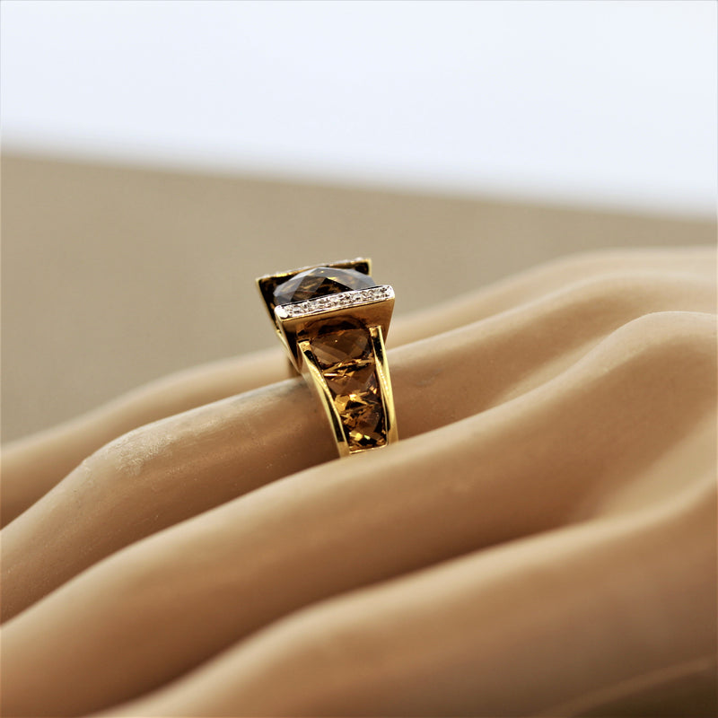 Bellarri Smoky Quartz Citrine Diamond Gold Ring