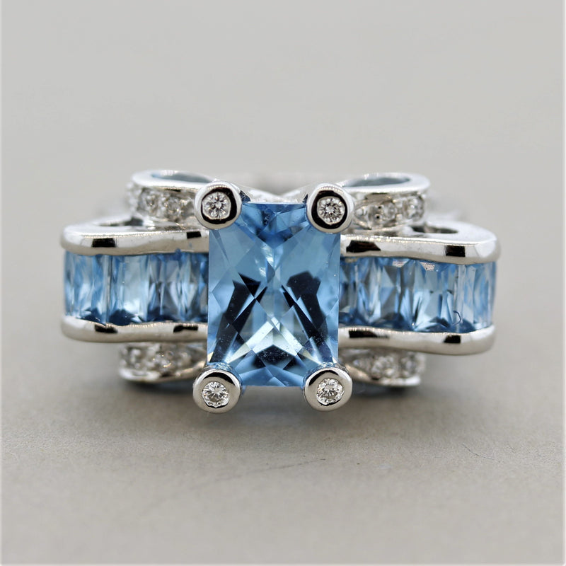 Bellarri Blue Topaz Diamond Gold Cocktail Ring