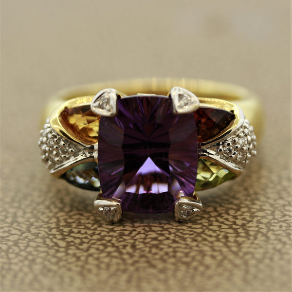 Bellarri Amethyst Diamond Multi-Color Gemstone Gold Ring