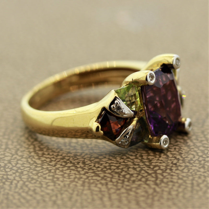 Bellarri Amethyst Multi-Color Gemstone Diamond Gold Ring