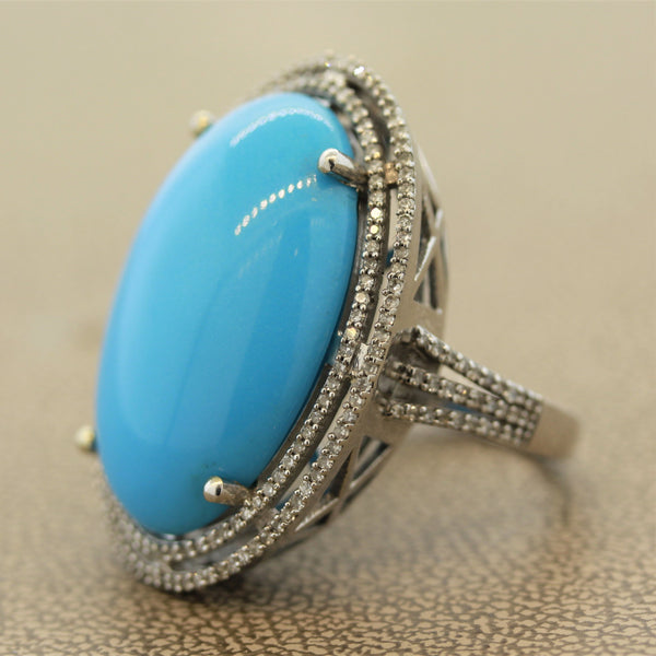 Large Persian Turquoise Diamond Gold Cocktail Ring