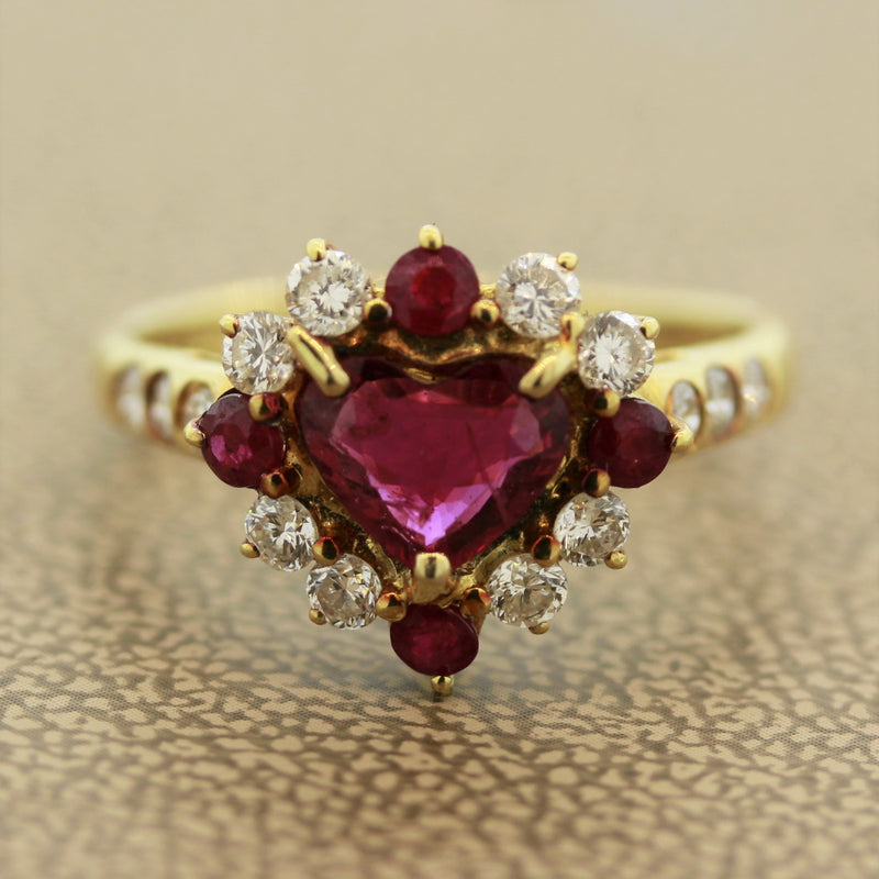 Ruby Diamond Gold Heart Ring
