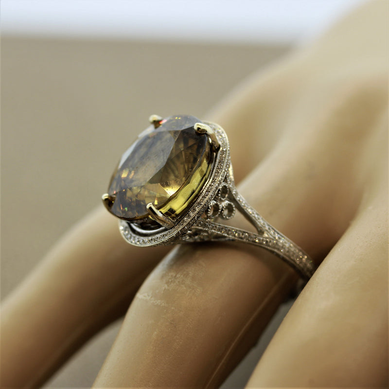 Large Zircon Diamond Gold Cocktail Ring