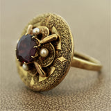 Antique Style Garnet Seed-Pearl Gold Ring