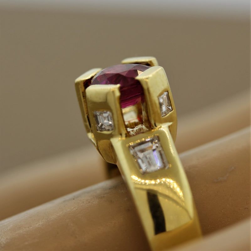 "Ruby Diamond ""Crown Prong"" Gold Ring"